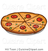 Cuisine Clipart of a Pepperoni Pizza Sliced into Sixths by Hit Toon