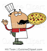 Cuisine Clipart of a Perfect Pizza Chef by Hit Toon