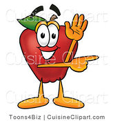 Cuisine Clipart of a Perky Red Apple Character Mascot Waving and Pointing to the Right by Toons4Biz