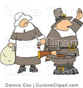 Cuisine Clipart of a Pilgrim Man Holding up a Hand and Standing by a Woman by Djart