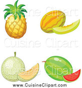 Cuisine Clipart of a Pineapple Melon Cantalope and Watermelon by Graphics RF