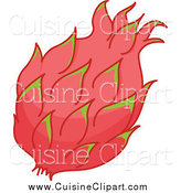 Cuisine Clipart of a Pink and Green Dragon Fruit by Graphics RF