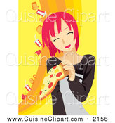 Cuisine Clipart of a Pink Haired Woman Eating Pizza by Mayawizard101