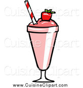 Cuisine Clipart of a Pink Strawberry Milkshake by Cartoon Solutions