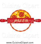 Cuisine Clipart of a Pizza Pie and Rolling Pin by Vector Tradition SM