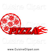 Cuisine Clipart of a Pizza Pie and Text by Vector Tradition SM