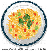 Cuisine Clipart of a Plate of Vegetable Fried Rice by Graphics RF