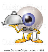 Cuisine Clipart of a Professional Eyeball Mascot Cartoon Character Dressed As a Waiter and Holding a Serving Platter by Toons4Biz