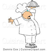 Cuisine Clipart of a Professional Male Cook Carrying a Covered Serving Plate by Djart