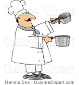 Cuisine Clipart of a Professional Male Cook Making Gravy by Djart