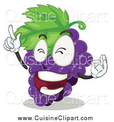 Cuisine Clipart of a Purple Grapes Character Rocking out by Graphics RF