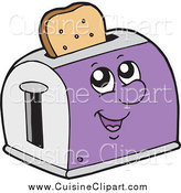 Cuisine Clipart of a Purple Toaster Character with Wheat Toast by Visekart
