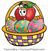 Cuisine Clipart of a Red Apple Character Mascot Behind an Easter Basket Full of Decorated Easter Eggs by Toons4Biz