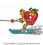 Cuisine Clipart of a Red Apple Character Mascot Waving and Water Skiing in Summer by Toons4Biz