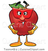 Cuisine Clipart of a Red Apple Character Mascot Wearing a Red Mask for a Masquerade by Toons4Biz