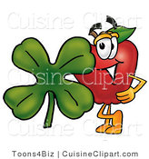Cuisine Clipart of a Red Apple Character Mascot with a Green Four Leaf Shamrock on St Paddy's or St Patricks Day by Toons4Biz