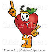 Cuisine Clipart of a Red Apple Produce Character Mascot Pointing Upwards by Toons4Biz