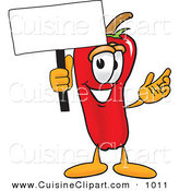Cuisine Clipart of a Red Chili Pepper Mascot Cartoon Character Holding a Blank White Sign by Toons4Biz