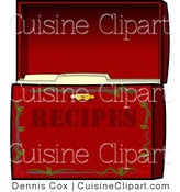 Cuisine Clipart of a Red Organized Recipe Box - Food Clipart by Djart
