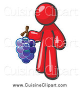 Cuisine Clipart of a Red Vintner Wine Maker Holding Grapes by Leo Blanchette