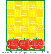 Cuisine Clipart of a Ripe Red Tomatoes with Green Yellow Background Menu by Maria Bell