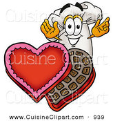 Cuisine Clipart of a Romantic Chefs Hat Mascot Cartoon Character with an Open Box of Valentines Day Chocolate Candies by Toons4Biz