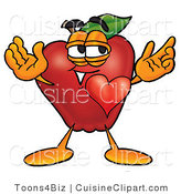 Cuisine Clipart of a Romantic Healthy Red Apple Character Mascot with His Heart Beating out of His Chest and Eyebrows Raised by Toons4Biz