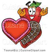 Cuisine Clipart of a Romantic Red Apple Character Mascot with an Open Box of Valentines Day Chocolate Candies by Toons4Biz