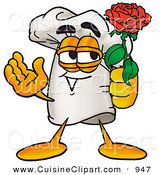 Cuisine Clipart of a Romantic White Chefs Hat Mascot Cartoon Character Holding a Red Rose on Valentines Day by Toons4Biz