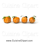 Cuisine Clipart of a Row of 3d Oranges Evolving from Round to GMO Cubes by Frank Boston