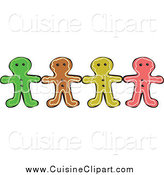 Cuisine Clipart of a Row of Colorful Gingerbread Men Holding Hands by Prawny
