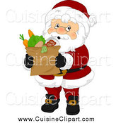 Cuisine Clipart of a Santa Claus Carrying a Paper Bag of Groceries by BNP Design Studio
