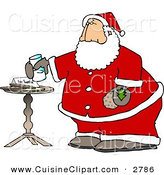 Cuisine Clipart of a Santa Claus with Fresh Milk and Cookies on White by Djart