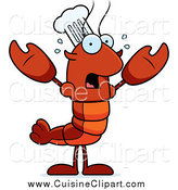 Cuisine Clipart of a Scared Chef Lobster or Crawdad by Cory Thoman