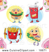Cuisine Clipart of a Seamless Fast Food Pattern Background by Graphics RF