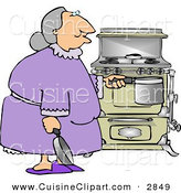 Cuisine Clipart of a Senior Citizen Woman Preparing to Cook a Home Cooked Meal by Djart