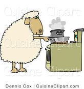 Cuisine Clipart of a Sheep Cooking Dinner in Pots on a Stove by Djart