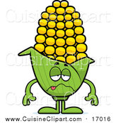 Cuisine Clipart of a Sick Corn Character by Cory Thoman