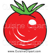 Cuisine Clipart of a Sketched Plump Red Tomato by Prawny