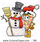 Cuisine Clipart of a Slice of Happy Pizza Mascot Cartoon Character with a Snowman on Christmas by Toons4Biz