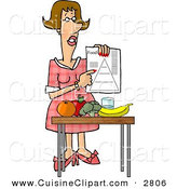 Cuisine Clipart of a Smart Female Dietitian Teaching the Public About Food and Nutrition by Djart