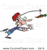 Cuisine Clipart of a Smiling and Dieting Woman Chasing a Chocolate Covered Carrot on a Stick by Toonaday