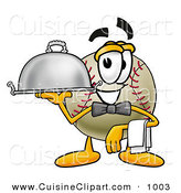Cuisine Clipart of a Smiling Baseball Mascot Cartoon Character Dressed As a Waiter and Holding a Serving Platter by Toons4Biz