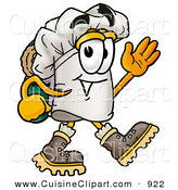 Cuisine Clipart of a Smiling Chefs Hat Mascot Cartoon Character Hiking and Carrying a Backpack by Toons4Biz