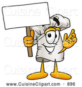 Cuisine Clipart of a Smiling Chefs Hat Mascot Cartoon Character Holding a Blank Sign by Toons4Biz