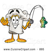 Cuisine Clipart of a Smiling Chefs Hat Mascot Cartoon Character Holding a Fish on a Fishing Pole by Toons4Biz