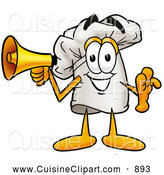 Cuisine Clipart of a Smiling Chefs Hat Mascot Cartoon Character Holding a Megaphone by Toons4Biz