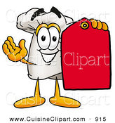 Cuisine Clipart of a Smiling Chefs Hat Mascot Cartoon Character Holding a Red Sales Price Tag by Toons4Biz