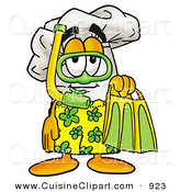 Cuisine Clipart of a Smiling Chefs Hat Mascot Cartoon Character in Green and Yellow Snorkel Gear by Toons4Biz