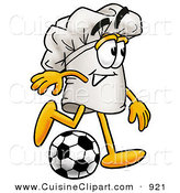 Cuisine Clipart of a Smiling Chefs Hat Mascot Cartoon Character Kicking a Soccer Ball by Toons4Biz